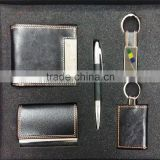 Custom Made VIP Quality Keychain , ball pen And business card holder Gift Set In High Quality Holiday Gift