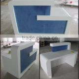 Transparent hair salon mini reception desk solid surface top