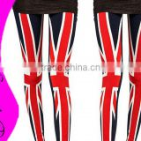 New Summer British Style Paillette Torx Flag Print Ninth pants Women leggings fashion 2015 Sexy Slim Leggings VQ035