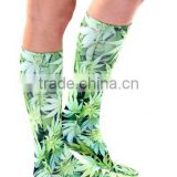 wholesale sublimated custom leaf weed socks