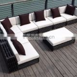 Hot Sale wicker bamboo outdoor garden sofa set furniture (1.2mm alu frame powder coated,5cm thick cushion, waterproof fabric)