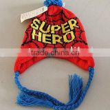TYH013 Lovely Red color with Yellow Deisgn 100%Acrylic New type Ear warmer red knitting patterns hats