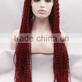 Free shipping long red party wig star wig afro kinky curly lace front wigs