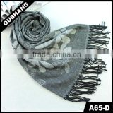 A65-D Lady Navy Plaid Stripe Knitted Handkerchief Scarf