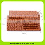 Square Double Layer Desk Pad Brown Leather Stone Water Glasses Pad Coaster 16034