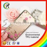 Crystal Clear flower Plate Transparent TPU Silicone Flexible Soft Back Cover Case for iPhone 6