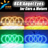 RGB Flash Red/Green/Blue/Amber/Cyan/White/Purple with Remote Control 75mm LED Angel Eyes Ring Kit