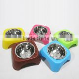 HOTE SALE dog bowl PP resin and Stainless Steel Candy Color high-legged food and water dog bowl 5 colors Guangdong Manufacture