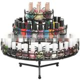 Black 3-Tier Wedding Cake Heart Design Rotating Metal Nail Polish Display Stand Organizer Rack