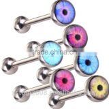 Free Shipping EYE Logo Tongue Ring Tongue Bar Stainless Steel Body Piercing Punk Style Jewelry