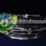 pewter alloy crystal glass ashtray/glass ashtray craft and gift decoration home decorative design newly