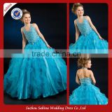 Fl102 Casual Halter Organza Sequins Pleats Ruching A-Line Floor Length Flower Girl Dress