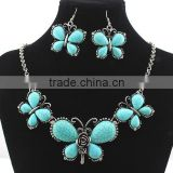 Wholesale Fashion Vintage Costume Jewelry Butterfly Turquoise Necklace/Earring Jewelry Set