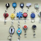 Round plastic ID badge holder clip retractable badge reel with Clip Ideal for Business Gifts