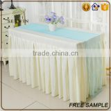 best selling organza fabric square size soft blue table runner