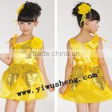 Wholesale performance yellow sequins ballet tutu dress for girls