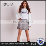 MGOO 2017 Latest Design Custom Made Women Christmas Jumper White Cropped Sweater Long Sleeve