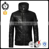 2016 COUTUDI best sale men stylish hooded zipper black sexy pu men biker leather bomber jacket