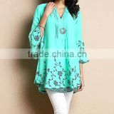 Factory Price Women Blouse With Turquoise Chiffon Notch Neck Bell-Sleeve Tunic Women Tops Women Clothing GD90426-7