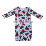Fashion design wholesale unisex baby car print cartoon night gowns infant evening sleeping wear cotton soft jumpsuit romper