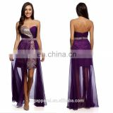 Women's Purple Rhinestone Beaded Sheer-overlay cocktail dress, formal gown homecoming prom dress
