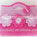 Cute Hand Crochet Children Girl bag,Crochet Cotton Girls Gift Little Purse With Pink Flowers Pattern