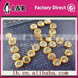 hotsale wholesale,gold, fashion fashion round leather crystal brass diamond pearl decorative 9mm metal rivet for clothes/ shoes