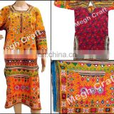 Afghani Hand embroidered Mirror Work Tunic - vintage Banjara yoke mirror work dress-Kuchi Dress -Balochi Afghani Dress