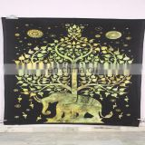 Royal Elephant Indian Wall Hanging Tree Of Life Tapestry Hippie Bedding Beach Throws Bedspread