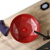 Bathroom hand wash basin new design round with red color basin