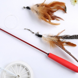 Natural Feather Wand Retractable Cat Feather Toy