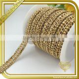 Gold resin decorative chains bridal wedding dress sash belt hotfix rhinestone chains FHRS-034