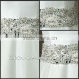 Taffeta bias 4 inch self tie belt all over beading with crystals,bugle beads rhinestones wedding dress accessories