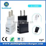 2-port mini universal dual usb charger factory wholesale price with black and white EU & US plug