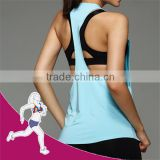 90% Polyester 10% Spandex SEXY Back Design fitness wear mini t-shirt vest (sports t-shirt)