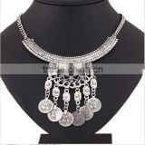 Classic restoring ancient silver zinc alloy exaggerated geometry coin chain tassel necklace