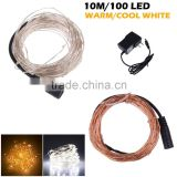 33Ft 100 LED Copper Wire string lights DC12V LED Fairy Lights for Outdoor Christmas Wedding Party Decor