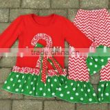christmas gift frock design for baby girl stripe fabric wholesale icing pants fall boutique girl clothing