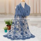 2016 Autumn Winter Large Long Plain Cotton Linen Lace Flower Scarf                                                                         Quality Choice
