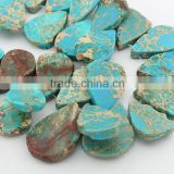SM3112 Wholesale top drilled aqua blue imperial jasper teardrop slab slice beads