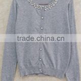 Long sleeve knitting wear beaded o-neck OL sweater cardigan