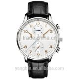 High end japan movement quartz sr626sw men's leather watch