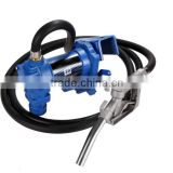 DC12V 24V portable fuel transfer pump unit with flow meter and delivery hose and fuel nozzle