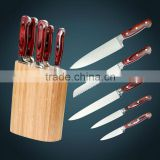 High quality 6pcs Germany1.4116/Japan 420J2/3Cr13 stainless steel kitchen knife set with rubber wood block