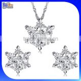 White Gold Plating 925 Sterling Silver Diamond Snowflake Pendant Necklace And Earring Set Jewelry Set Wholesale