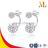 MLSE-039 Classic S925 sterling silver material two rhinestone balls earring silver jewelry