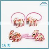 Kids Lovely Rabbit Decoration Hiar Snap Clips and Elastic Set, Fashion Children Hair Accessories