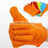 Kitchen Waterproof BBQ silicone grill gloves with five fingers for factory sale Heat Up To 250 Degrees