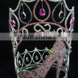 big heels crown rhinestone full round pageant crown