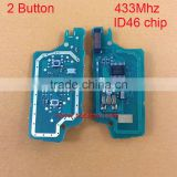 2 button Peugeot electronic board with 433mhz ID46 chip for 2 button Peugeot remote car key with 307&407 blade